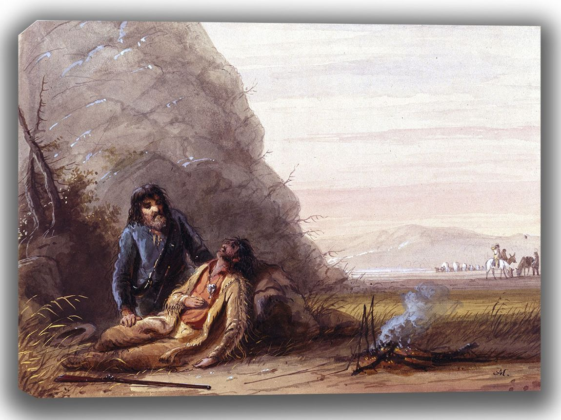 Miller, Alfred Jacob: Free Trappers in Trouble. Fine Art Canvas. Sizes: A4/A3/A2/A1 (003850)